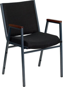 HERCULES Series Heavy Duty Black Dot Fabric Stack Chair with Arms and Ganging Bracket - XU-60154-BK-GG