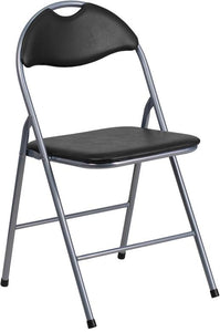HERCULES Series Black Vinyl Metal Folding Chair with Carrying Handle - YB-YJ806H-GG