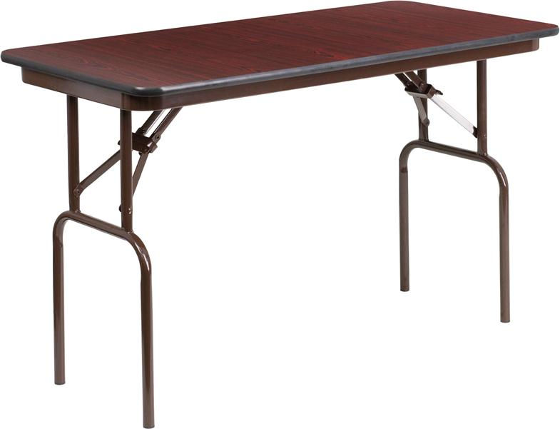 24 x 48 Rectangular High Pressure Mahogany Laminate Folding Banquet Table - YT-2448-HIGH-WAL-GG
