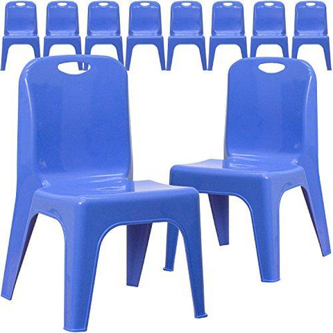 Blue Plastic Stackable School Chair with Carrying Handle and 11 Seat Height - YU-YCX-011-BLUE-GG