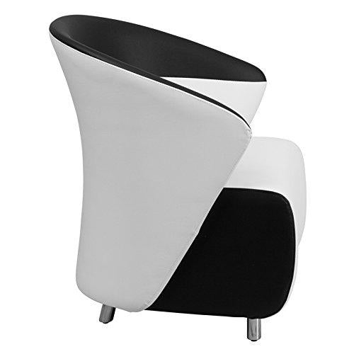 White Leather Lounge Chair with Black Detailing - ZB-3-GG