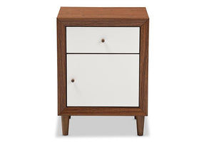 Baxton Studio Harlow Mid-century Modern Scandinavian Style White and Walnut Wood 1-drawer and 1-door Nightstand