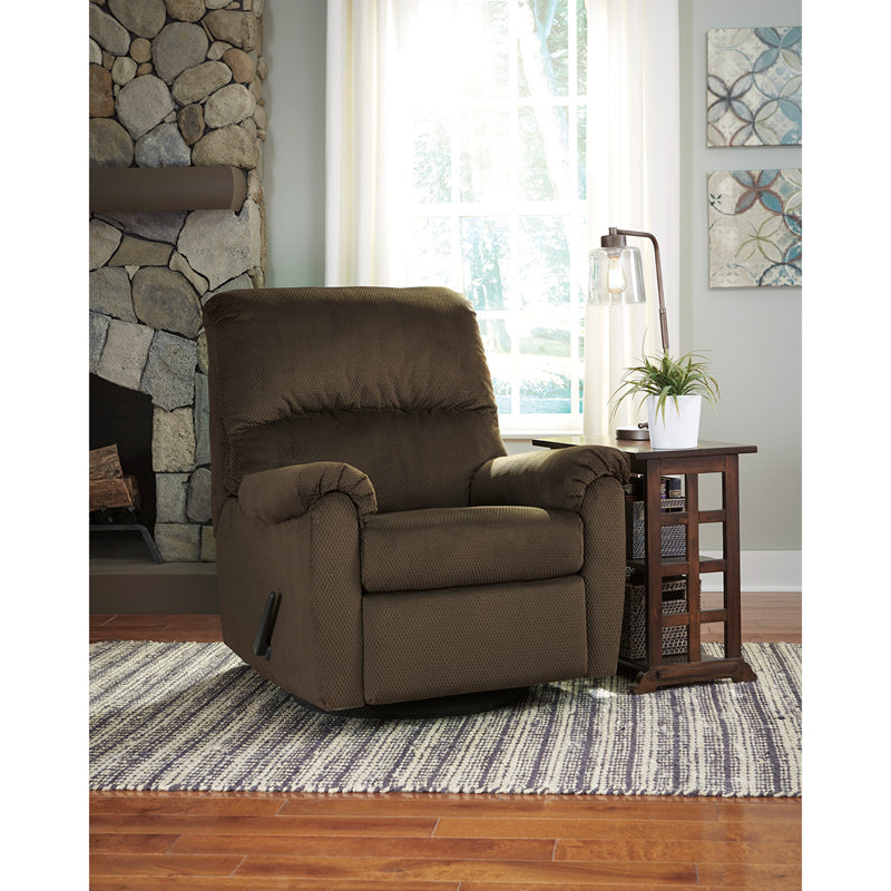 Signature Design by Ashley Bronwyn Swivel Glider Recliner in Cocoa Fabric