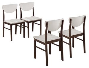 Pilaster Designs - Dining Room - Kitchen Wood Side Chair ~Set of 4 Chairs~ (Walnut / White)