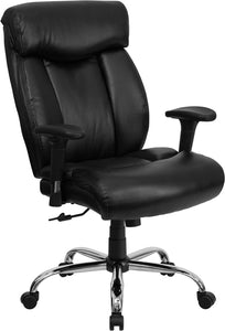 HERCULES Series Big & Tall 400 lb. Rated Black Leather Executive Swivel Chair with Adjustable Arms - GO-1235-BK-LEA-A-GG