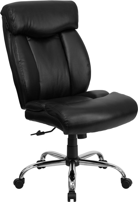 HERCULES Series Big & Tall 400 lb. Rated Black Leather Executive Swivel Chair - GO-1235-BK-LEA-GG