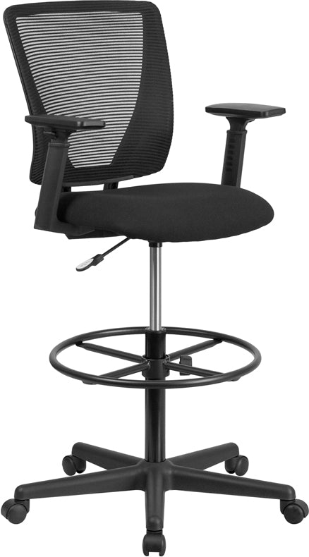 Ergonomic Mid-Back Mesh Drafting Chair with Black Fabric Seat<li/><li> Adjustable Foot Ring and Adjustable Arms