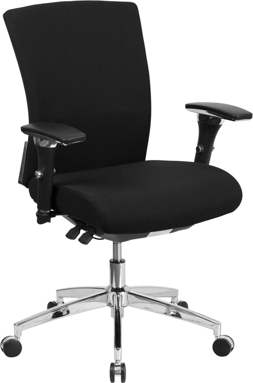 HERCULES Series 24/7 Intensive Use 300 lb. Rated Black Fabric Multifunction Executive Swivel Chair with Seat Slider - GO-WY-85-6-GG