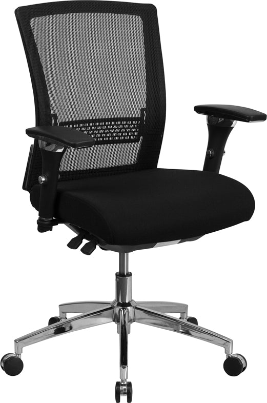 HERCULES Series 24/7 Intensive Use 300 lb. Rated Black Mesh Multifunction Executive Swivel Chair with Seat Slider - GO-WY-85-8-GG