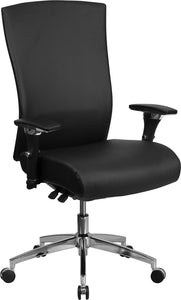 HERCULES Series 24/7 Intensive Use 300 lb. Rated Black Leather Multifunction Executive Swivel Chair with Seat Slider - GO-WY-85H-1-GG