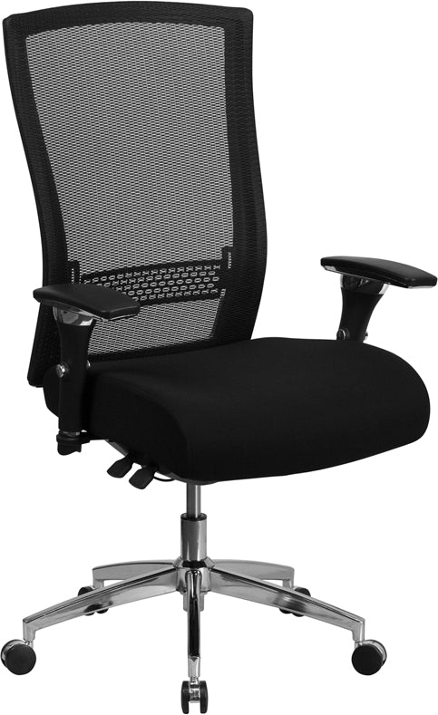HERCULES Series 24/7 Intensive Use 300 lb. Rated Black Mesh Multifunction Executive Swivel Chair with Seat Slider - GO-WY-85H-GG