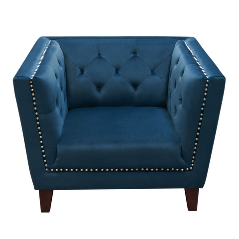 Grand Tufted Back Chair with Nail Head Accent in Blue Velvet by Diamond Sofa