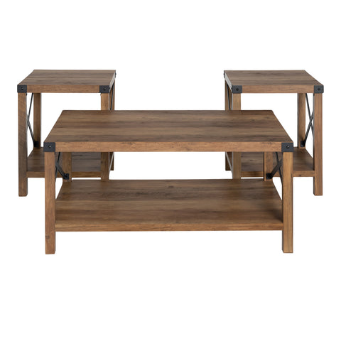 3-Piece Rustic Wood & Metal Accent Table Set - Rustic Oak