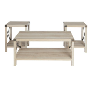 3-Piece Rustic Wood & Metal Accent Table Set - White Oak