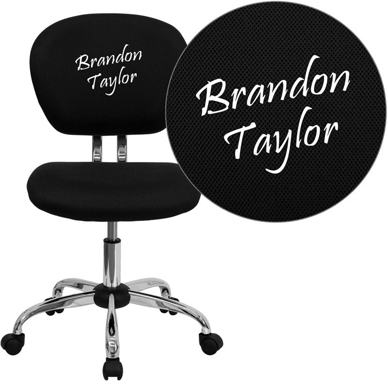 Personalized Mid-Back Black Mesh Swivel Task Chair with Chrome Base - H-2376-F-BK-TXTEMB-GG