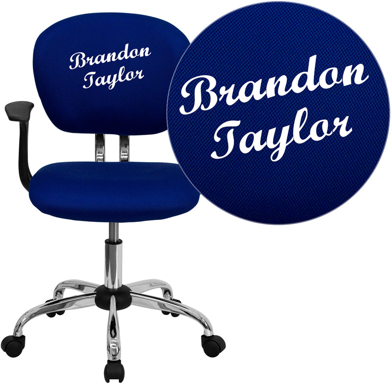 Personalized Mid-Back Blue Mesh Swivel Task Chair with Chrome Base and Arms - H-2376-F-BLUE-ARMS-TXTEMB-GG