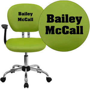 Personalized Mid-Back Apple Green Mesh Swivel Task Chair with Chrome Base and Arms - H-2376-F-GN-ARMS-TXTEMB-GG