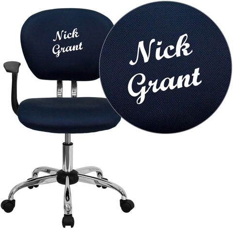 Personalized Mid-Back Navy Mesh Swivel Task Chair with Chrome Base and Arms - H-2376-F-NAVY-ARMS-TXTEMB-GG