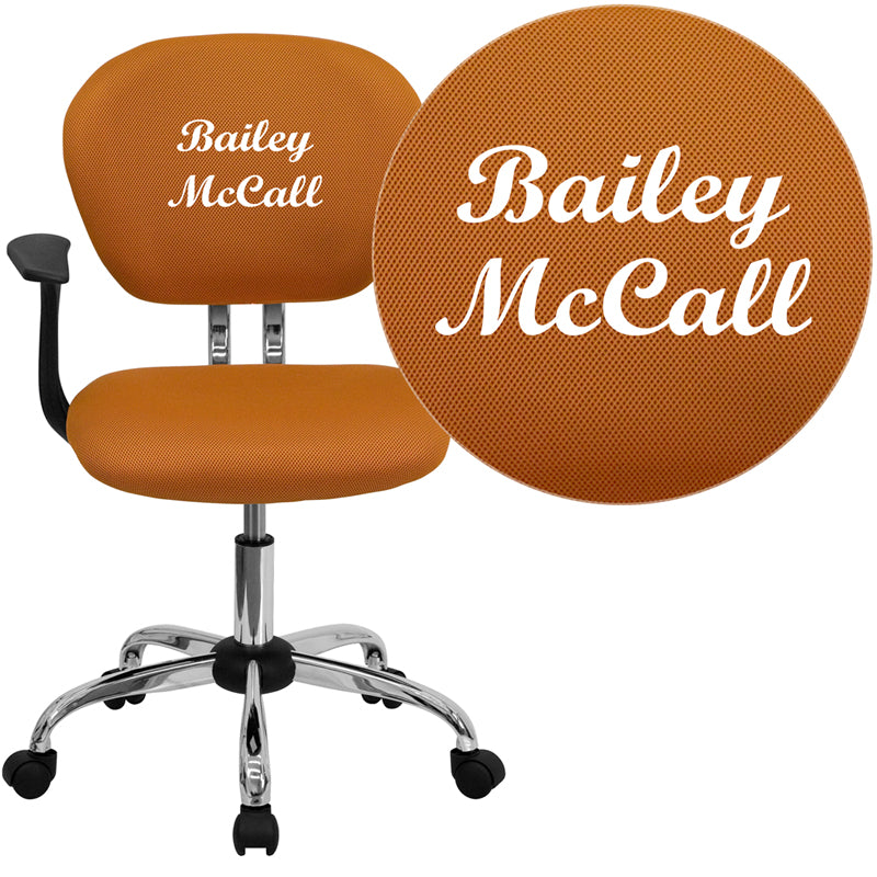 Personalized Mid-Back Orange Mesh Swivel Task Chair with Chrome Base and Arms - H-2376-F-ORG-ARMS-TXTEMB-GG