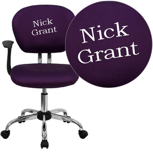 Personalized Mid-Back Purple Mesh Swivel Task Chair with Chrome Base and Arms - H-2376-F-PUR-ARMS-TXTEMB-GG