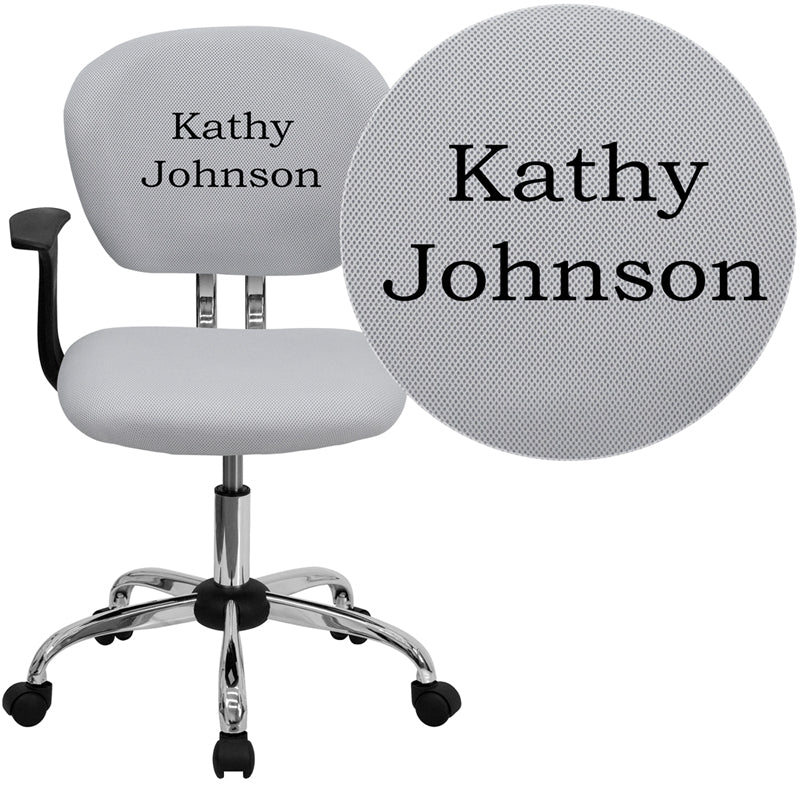 Personalized Mid-Back White Mesh Swivel Task Chair with Chrome Base and Arms - H-2376-F-WHT-ARMS-TXTEMB-GG