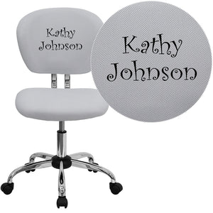 Personalized Mid-Back White Mesh Swivel Task Chair with Chrome Base - H-2376-F-WHT-TXTEMB-GG