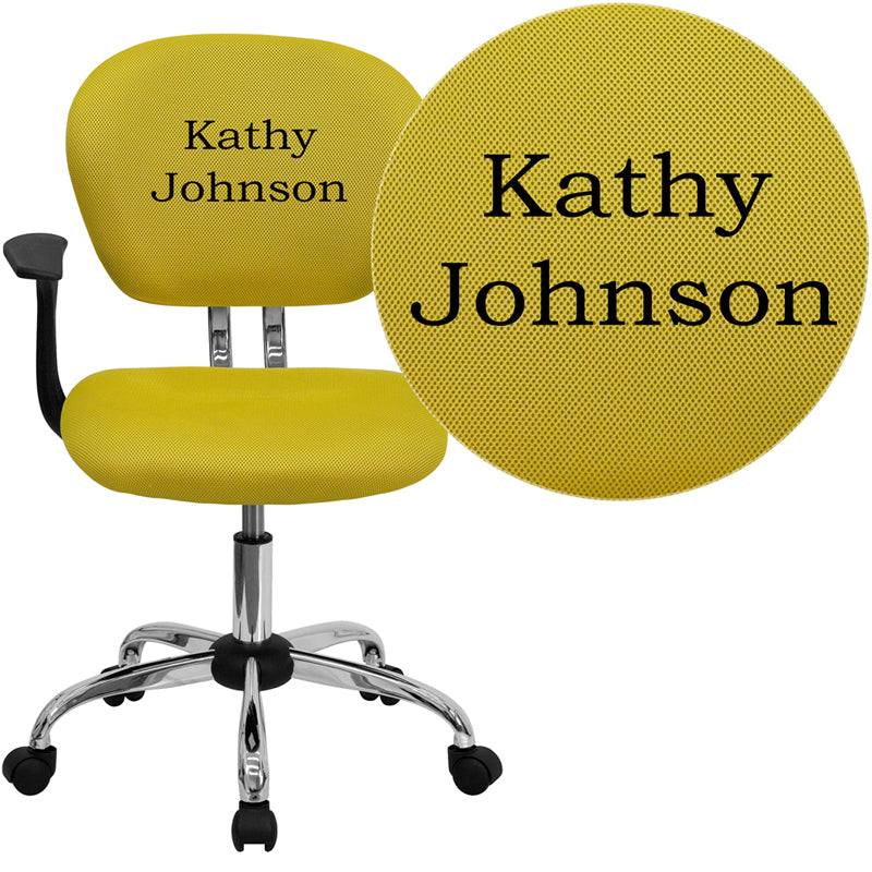 Personalized Mid-Back Yellow Mesh Swivel Task Chair with Chrome Base and Arms - H-2376-F-YEL-ARMS-TXTEMB-GG