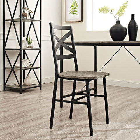 Metal X-Back Wood Dining Chair, Set of 2, Driftwood