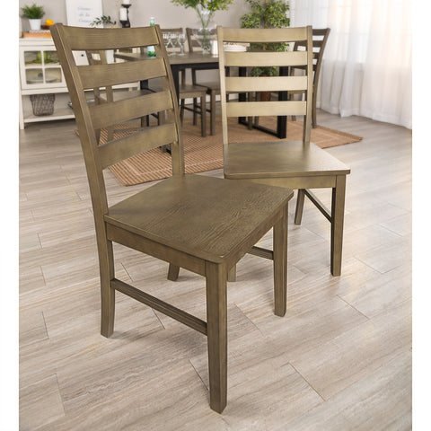Wood Ladder Back Dining Chair, Set of 2 - Aged Grey