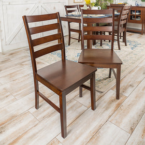 Wood Ladder Back Dining Chair, Set of 2 - Walnut