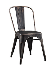 Stackable Metal Caf Bistro Chair - Antique Black
