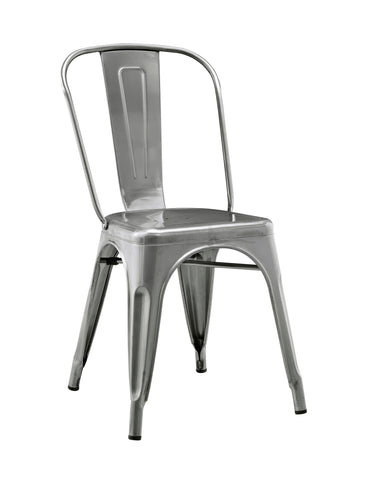 Stackable Metal Caf Bistro Chair - Gun Metal Silver