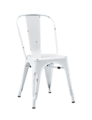 Stackable Metal Caf Bistro Chair - Antique White