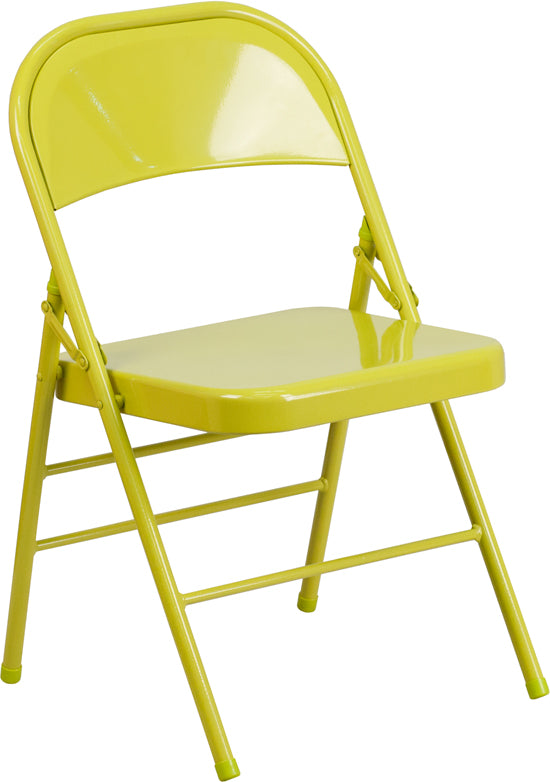 HERCULES COLORBURST Series Twisted Citron Triple Braced & Double Hinged Metal Folding Chair - HF3-CITRON-GG
