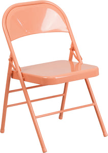HERCULES COLORBURST Series Sedona Coral Triple Braced & Double Hinged Metal Folding Chair - HF3-CORAL-GG