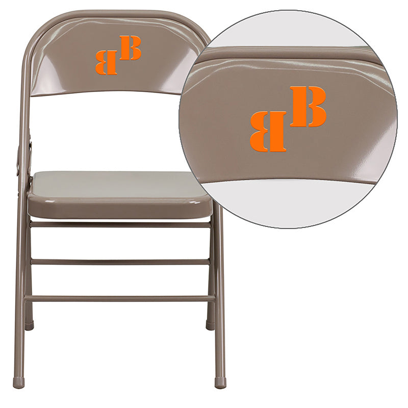 Personalized HERCULES Series Triple Braced & Double Hinged Beige Metal Folding Chair - HF3-MC-309AS-BGE-TXTEMB-VYL-GG