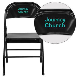 Personalized HERCULES Series Triple Braced & Double Hinged Black Metal Folding Chair - HF3-MC-309AS-BK-TXTEMB-VYL-GG