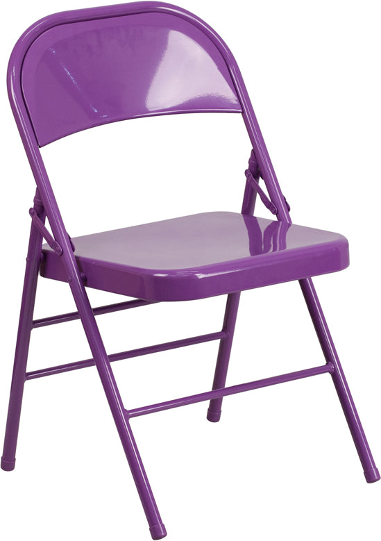 HERCULES COLORBURST Series Impulsive Purple Triple Braced & Double Hinged Metal Folding Chair - HF3-PUR-GG
