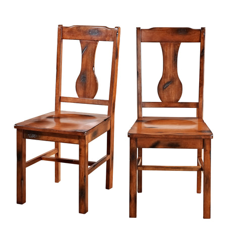Distressed Dark Oak Wood Dining Kitchen Chairs, Set of 2