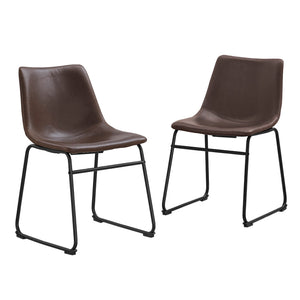 Faux Leather Dining Kitchen Chairs, Set of 2 - Brown