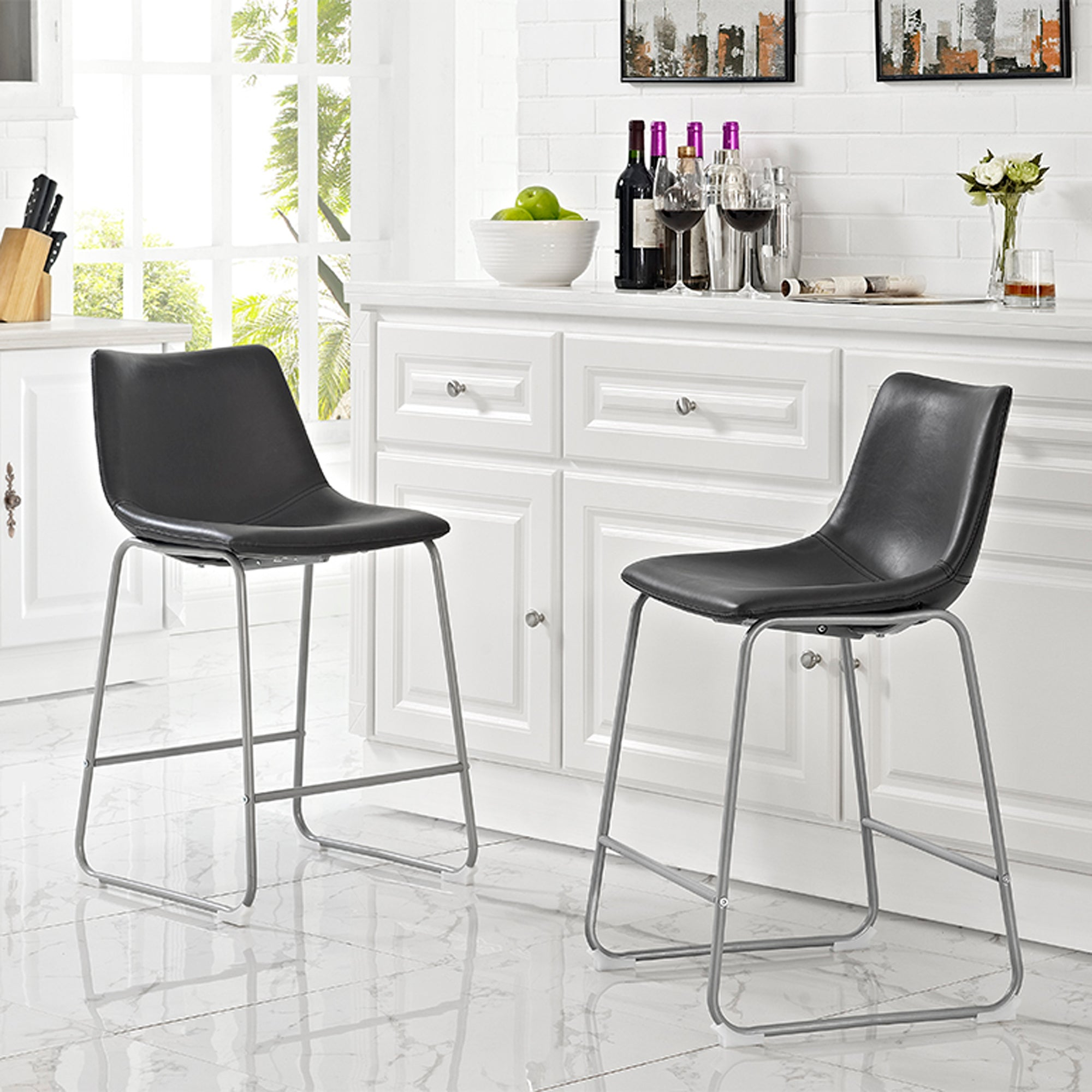 Faux Leather Dining Kitchen Counter Stools Set of 2 - Black