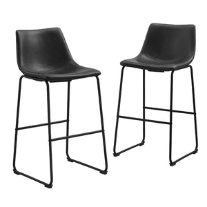Faux Leather Dining Kitchen Barstools Set of 2 - Black