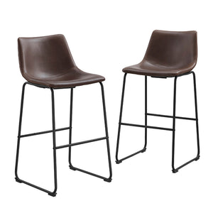 Faux Leather Dining Kitchen Barstools Set of 2 - Brown