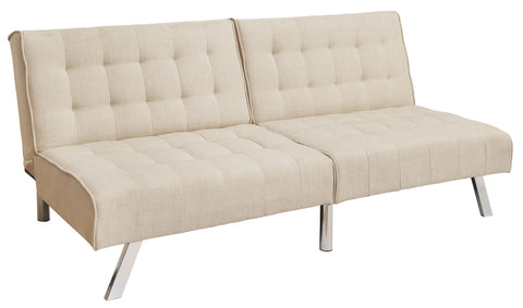 Koye Fabric Tufted Futon Transitional Style - Beige