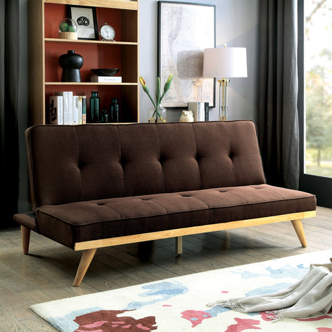Fidel Tufted Futon Sofa Mid-Century Modern - Brown