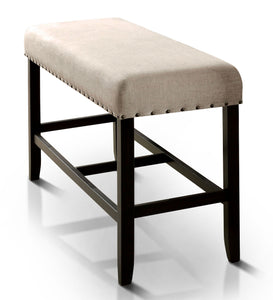 Gallessa Padded Fabric Counter Height Bench Contemporary Style - Antique Black