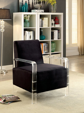 Parra Acrylic Arm Accent Chair Contemporary Style - Black