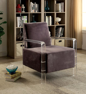 Parra Acrylic Arm Accent Chair Contemporary Style - Grey
