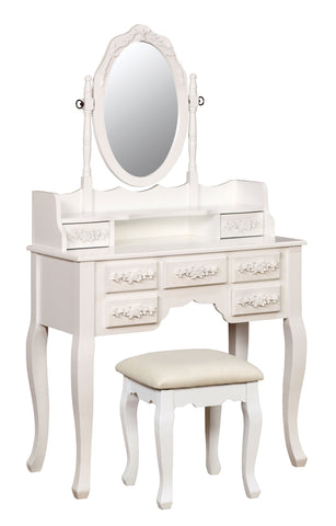 Alisster Floral Carved Vanity Set Transitional Style - White