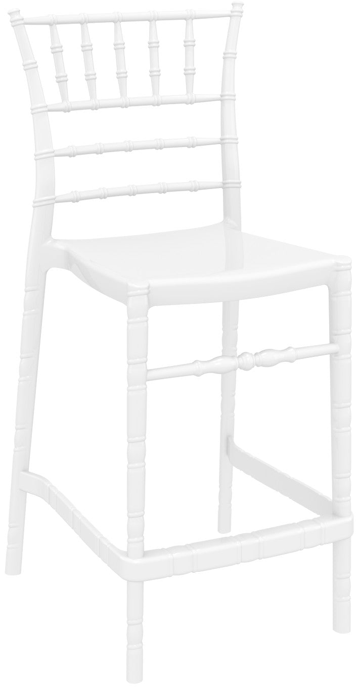 Chiavari Polycarbonate Counter Stool Glossy White Pack Of - 2